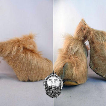 Vintage 60s Goat Hair Shoes Heeled Mules Hippie Shoes Hippy Shoes Shaggy Fur Yeti Shoes Furry Shoes Ethnic Shoes Tribal Shoes Boho Luxe