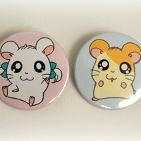 Hamtaro and Bijou set of 2 - button badge or magnet 1.5 Inch