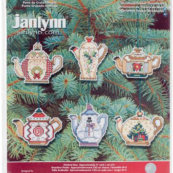 "Christmas Teapot Ornaments Counted Cross Stitch Kit 3"" 14 Count Set Of 6"
