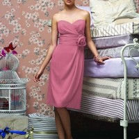 knee length short sweetheart pink bridesmaid dress