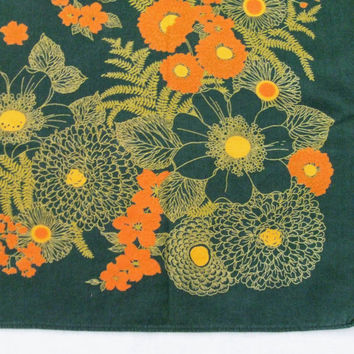 Tablecloth Dark Green Cotton and Orange Flowers