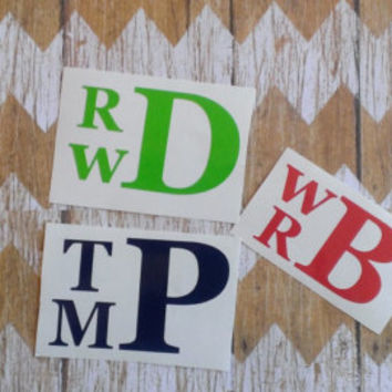 Vinyl Stacked Monogram, made with outdoor vinyl. Personalized decal for your laptop, Ipad, car, water bottle etc.