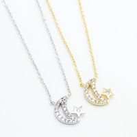 Crescent moon, star necklace