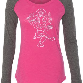 Womens Yoga T-shirt Sketch Ganesha White Print Preppy Patch Elbow Tee