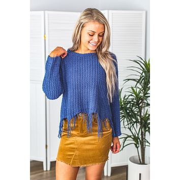 Inspire Me Distressed Sweater- Denim Blue