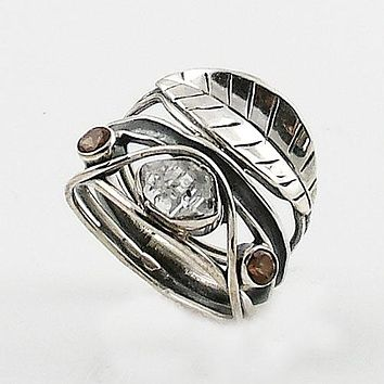 Herkimer Diamond & Smoky Quart Vine Sterling Silver Band Ring