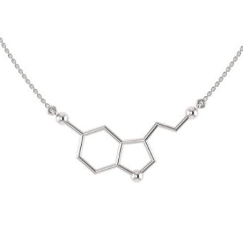 Silver Serotonin Necklace, Chemistry Necklace, Serotonin Molecule Necklace,  Serotonin Molecule Necklace, Happiness Necklace