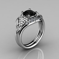 Nature Inspired 14K White Gold 1.0 CT Black and White Diamond Grape, Vine and Leaf Engagement Ring Set NN118SS-14KWGBD