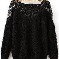 Black Lace Insert Boat Neck Mohair Sweater -SheIn(Sheinside)
