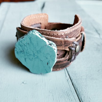 Chunky Blue Turquoise on Leather Cuff 230X