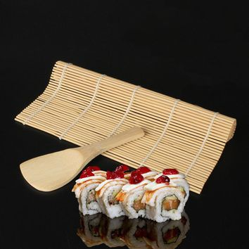 Useful 1pc Sushi roll with 1pc MiNi Spoon Bamboo sushi tools seaweed rice mold hand roll sushi mold sushi curtain 2018 new