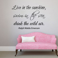 Wall Decals Quote Live in the Sunshine Vinyl Decal Sticker Art Dorm Decor KG871