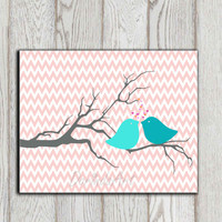 Bird printable Pink Nursery print Chevron printable Turquoise love birds Gray Tree Anniversary Little girl bedroom decor Baby girl Download