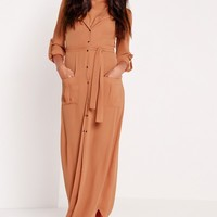 Missguided - Wrap Around Maxi Shirt Dress Tan