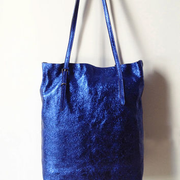 Royal Blue Distressed Leather Tote. Medium Metallic Shopper Bag. Weekend Bag. Genuine Leather