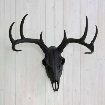 The Large Black Faux Taxidermy Resin Deer Head Skull Wall Mount | Black Deer Head w/ Colored Antlers