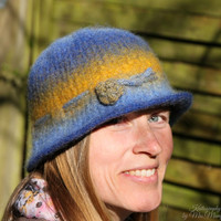 Hand felted hat, unique felt beanie, handknit and felted inblue and yellow with flower applique 100% pure wool perfect holiday gift for her