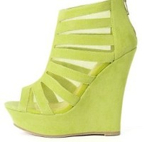 Bamboo Dreamer-36 Cut Out Mesh Booties LIME 6.5