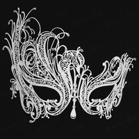 Free Shipping Luxury Phantom  White Metal Venetian Party mask halloween Masquerade   Swan mask Rhinestone