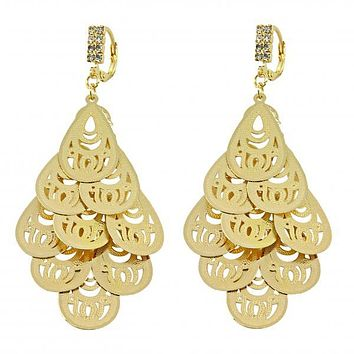 Gold Layered 5.069.003.1 Chandelier Earring, Teardrop Design, with White Cubic Zirconia, Diamond Cutting Finish, Gold Tone