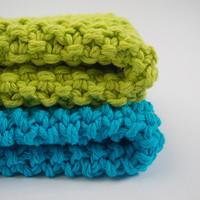 hand knit plushy cotton washcloth set in bright lime green and aqua blue