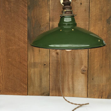 Vintage Enamel Light, Green Ceramic Light, Industrial Lighting, Green Enamel Light Shade, Gas Station Light, Man Cave Decor