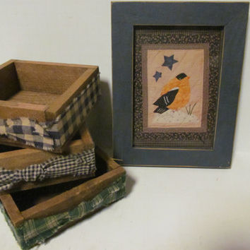 Set Of Wooden Storage Boxes Primitive Decor  Rustic Cabin Decor Rustic Wood Box Homespun Fabric