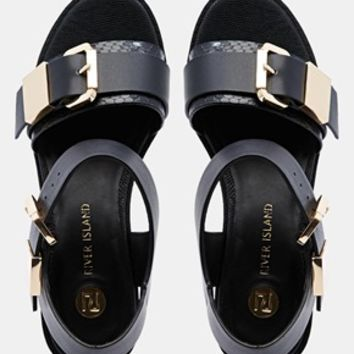 River Island Urban Black Grunge Sole Sandals