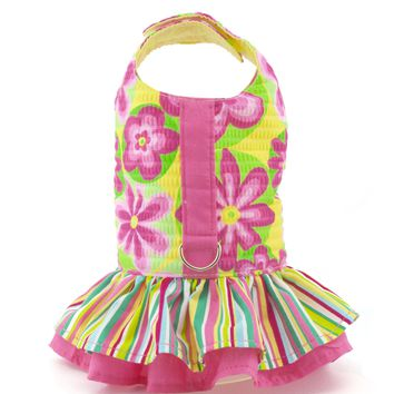 Annie's Yellow and Pink Flower Ruffled Vest Dog Harness - CLOSEOUT!
