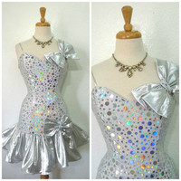 Vintage 80s Mini Dress by Flirtations Alfred Angelo // Metallic Silver Sequins Dress //Prom Cocktail Party Sweetheart Dress - XS/S