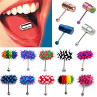Fashion 2017 Women Men Colorful Rock Personality Vibrating Tongue Ring Body Piercing Jewelry With 2 Batteries