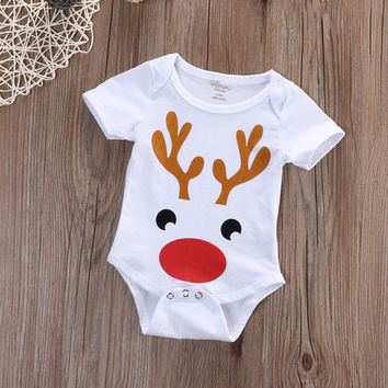 summer bodysuit Newborn Kids Baby Boys Girls christmas Bodysuit cotton Outfits 0-18M