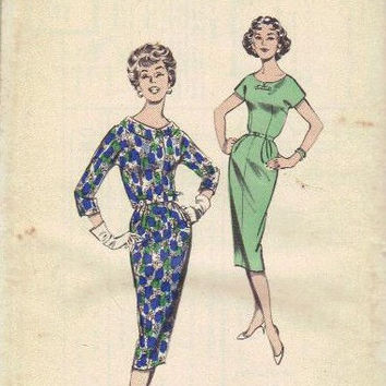 Butterick 8600 Sewing Pattern 1960s Mad Men Style Wiggle Dress Secretary Sheath Scoop Neck Cropped Jacket Bolero Bust 34 Uncut FF