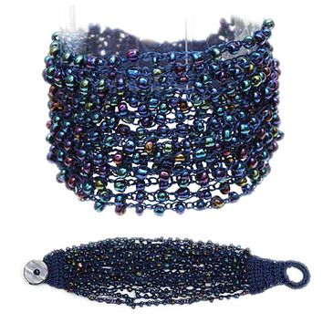 Simply a Must, Multi Layered Blue Seed Bead Bracelet