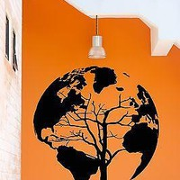 Wall Stickers Vinyl Decal Earth Tree World Map Cool Decor Living Room Unique Gift (z2076)