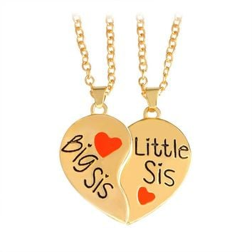 "Hot sale 2 pcs/set ""Big sis Little sis"" Red Heart shaped Pendant Necklaces Sister Chains BFF Best Friends Forever Gift"