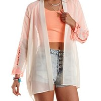 Fiery Coral Neon Embroidered Kimono by Charlotte Russe