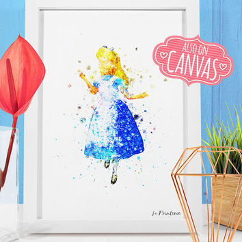 Alice In Wonderland Wall Art Canvas, Alice Art Prints Wall Decor, Watercolor Art Canvas Print Poster, Kids Room Princess Nursery Decor Gift