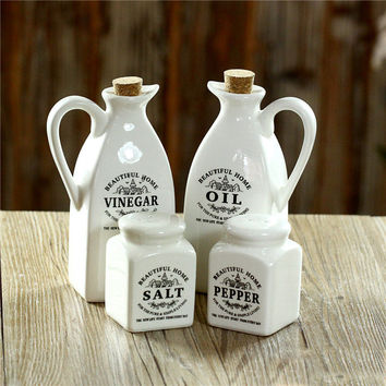 4PCS Porcelain Ceramic  Vinegar Oil Dispenser Pepper Salt Grinder Mill  Kitchen Dinner  Casters Cruet  Porcelain Kitchenware
