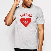 Adidas Trending Women Men Stylish Clover Print Round Collar T-Shirt Top Grey