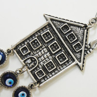 Home Evil Eye Bead Wall Hanging Amulet Handmade Silver Plated
