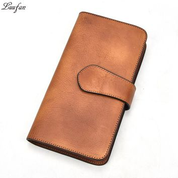 Men Wallets Male Genuine leather Trifold long Purse Vintage Cow Leather Clutch hasp wallet Phone pocket carteira