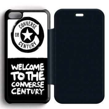 Converse Quote Leather Wallet Flip Case iPhone 5C