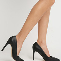 Faux Leather Pointed Pumps