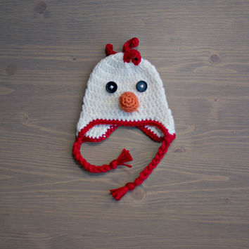 Crochet Chicken Hat, Crochet Baby Hat, Newborn Photography Prop, Crocheted Baby Hat, Chicken Baby Hat, Baby Girl, Baby Boy, Baby Shower Gift