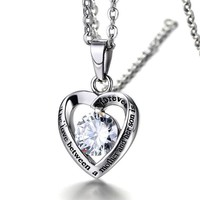 Mother's Gift Cyrstal Heart Stainless Steel Pendant Necklace, the Love Between a Mother and Her Son Is Forever Kolye Jewelry 20""