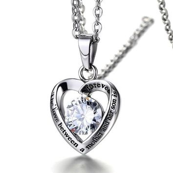 6f2d66b8d Mother's Gift Cyrstal Heart Stainless Steel Pendant Necklace, th