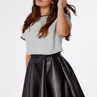 PLUS SIZE WET LOOK SKATER SKIRT