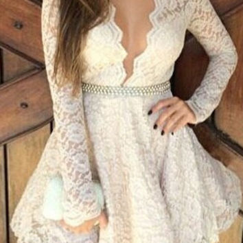 White Long Sleeve Floral Lace Dress