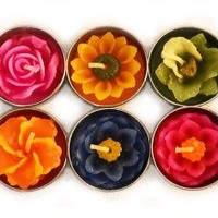 Tea Light Candles - Set of 10 - Tropical Flower Candles - Assorted Colors